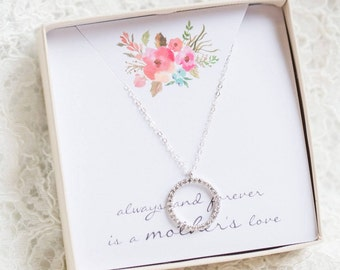 Diamond Circle Necklace, Eternity Circle, Mothers Necklace, Mom Necklace, Diamond CZ Necklace, Mother of the Bride Gift, Gift for Mom