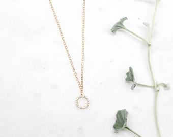 Diamond Circle Necklace, Gold Circle Necklace, Tiny gold circle, Eternity Necklace, Minimal Geometric Necklace, Pave, Cubic Zirconia
