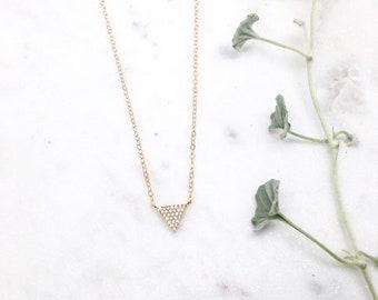 Diamond Triangle Necklace, Gold Triangle Necklace, Trinity Necklace, Mind Body Spirit, Minimal Geometric Necklace, Pave, Cubic Zirconia
