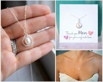 Mother of the Bride Gift, Pearl Wedding Necklace, Mom Wedding Gift, Pearl Infinity Necklace, Freshwater Pearl, Mom Thank you Gift, Silver