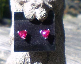 Ruby Earrings, 5mm Trillion Cut Ruby Earrings, Sterling Silver & Ruby Earrings, 5mm Ruby Earrings