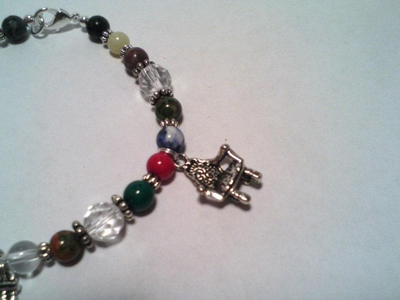Chamring Cats Bracelet Cat Charms /& Gemstone Bracelet Gemstone Bracelet Multi-Gemstone Bracelet.