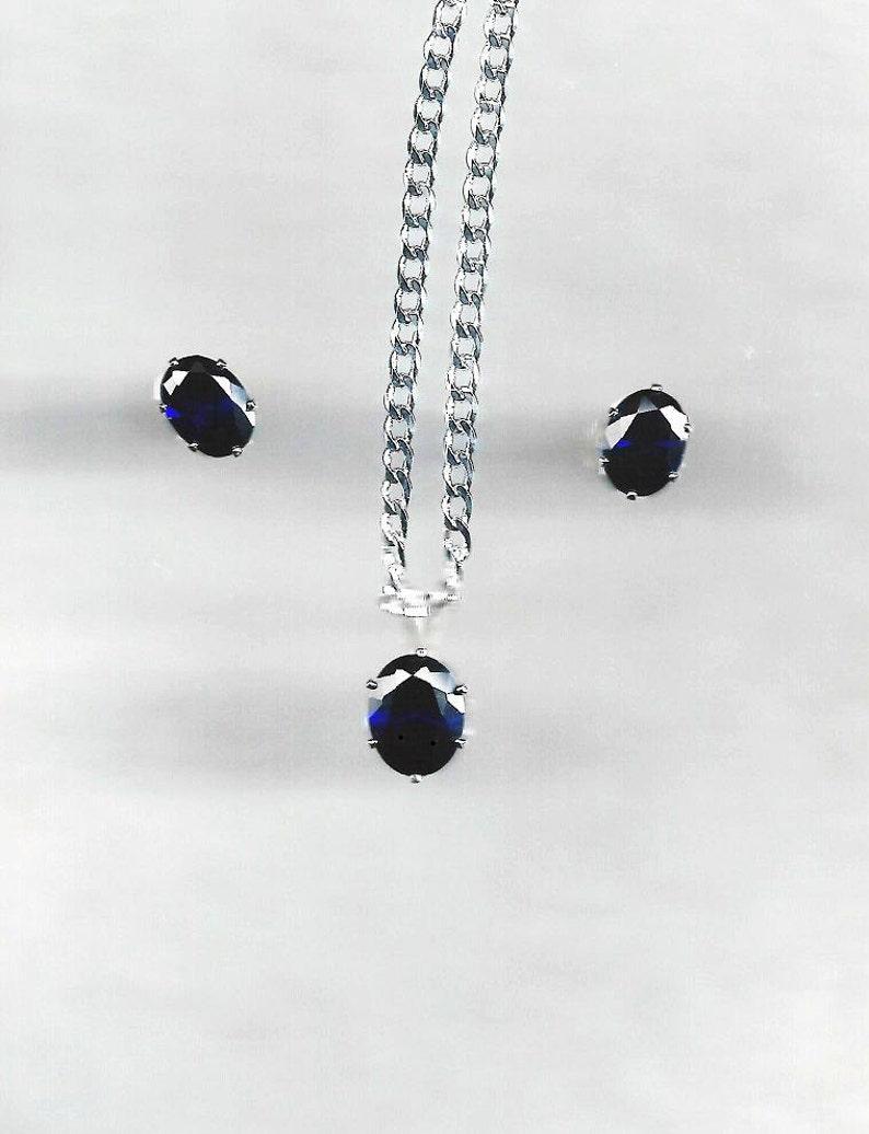 62518c1af1c Sapphire Pendant   Earrings Blue Sapphire Jewelry Set Deep