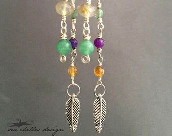 Long Feather Earrings Wire Wrapped Agate, Citrine, Green Aventurine and Purple Gemstones Crystal Silver Dangle Boho Hippie