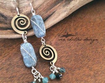 Kyanite and Tigers Eye gemstone, Swarovski crystal, swirl wire wrapped silver asymmetrical earrings