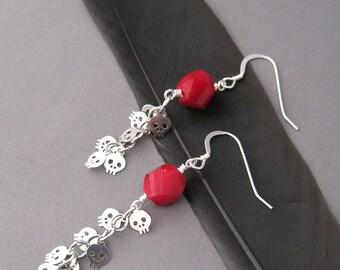 Sugar Skull Chain Earrings
