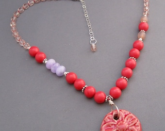 Coral and Purple Flower Necklace