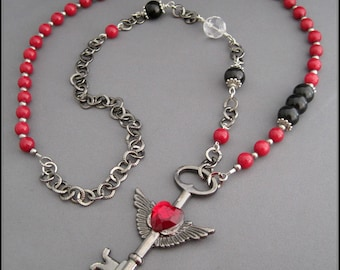 Key to the Heart Necklace - Asymmetrical with large KEY pendant. Red Heart, Malaysia Jade, black Jet gemstone.