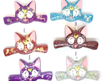 Glittery Resin Kitty Keychains