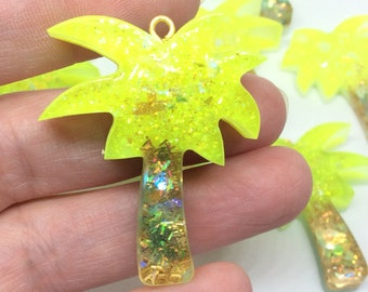 Glittery Resin Palm Tree Charms