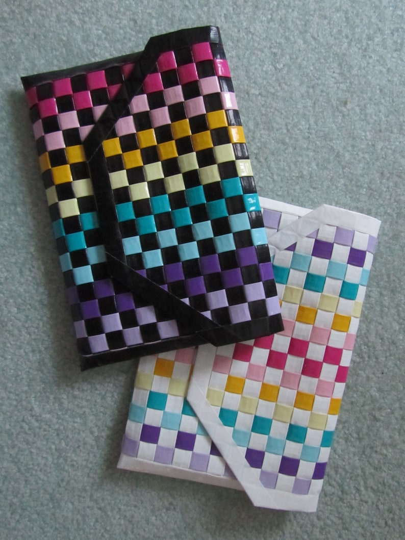 Duct Tape Rainbow Woven Checkerboard Clutch Purse Bag