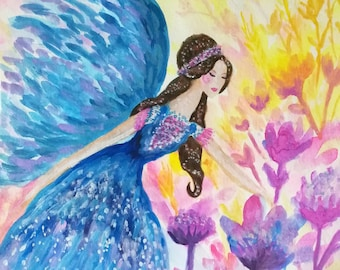 Spring Fairy Queen Original Watercolour Painting