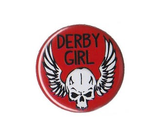 "Derby Girl Skull Button Badge Pinback 1"", 1.25"" or 2.25"" roller derby pin"
