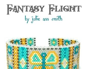 Julie Ann Smith Designs FANTASY FLIGHT Odd Count Peyote Bracelet Pattern