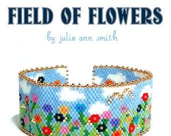 Julie Ann Smith Designs FIELD OF FLOWERS Odd Count Peyote Bracelet Pattern