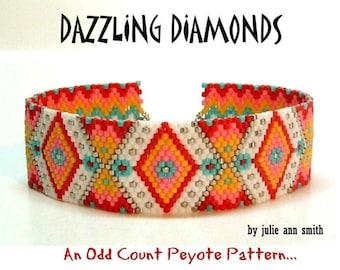 Julie Ann Smith Designs DAZZLING DIAMONDS Odd Count Peyote Bracelet Pattern