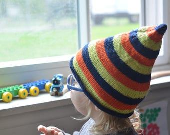 Colorful Striped Gnome Hat size 2/3