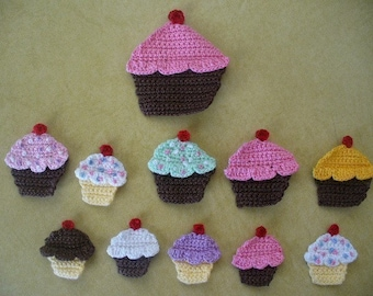 Crocheted Cupcake Applique, Embellishment, Earrings, Magnet or Pin - Choice of Colors and Sizes
