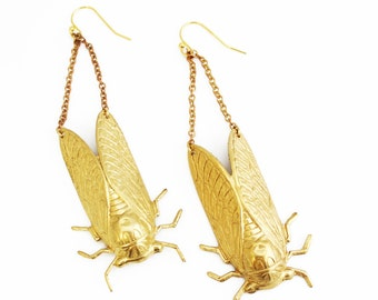 Cicada Brass Earrings