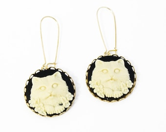 Cat Cameo Earrings