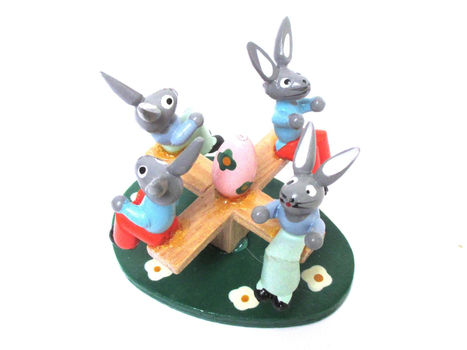 Easter Figurine Merry-Go-Round with Bunny Rabbits Vintage Germany Wood Playground Erzgebirge Style Spring Decor Handmade Rustic Farmhouse