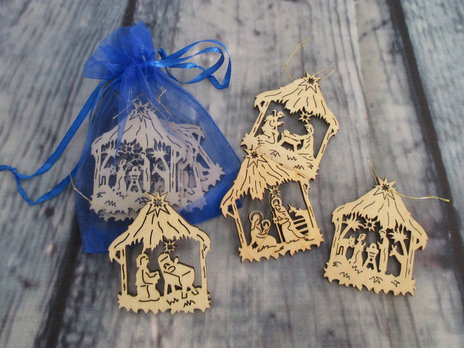 Nativity Ornaments Erzgebirge Wood Christmas Ornaments Hanging Wooden Nativity Vintage Wood German Xmas Gift Crafts Handmade Under 10