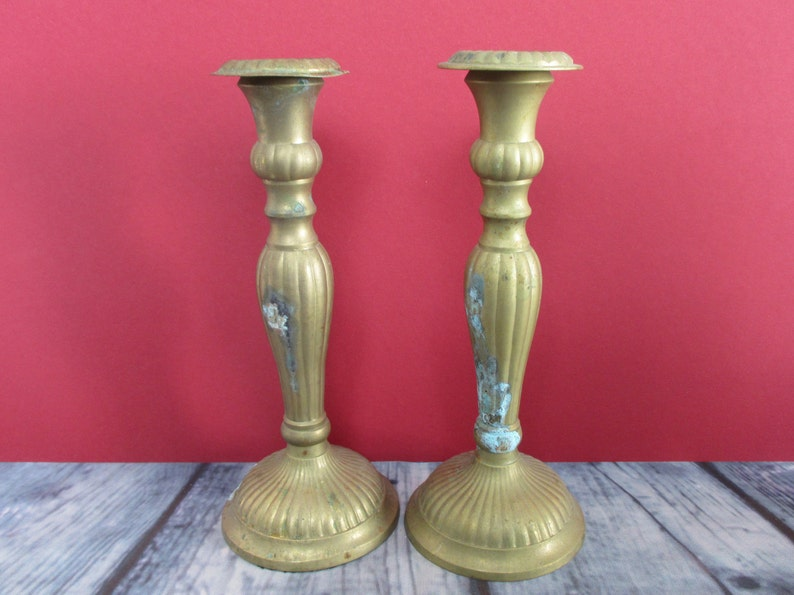 Solid Brass Candleholder with Verdigris Matched Set 2 Candlesticks Bronze Home Decor Gift Idea Wife Mom Midcentury Retro Metal Candle Holder