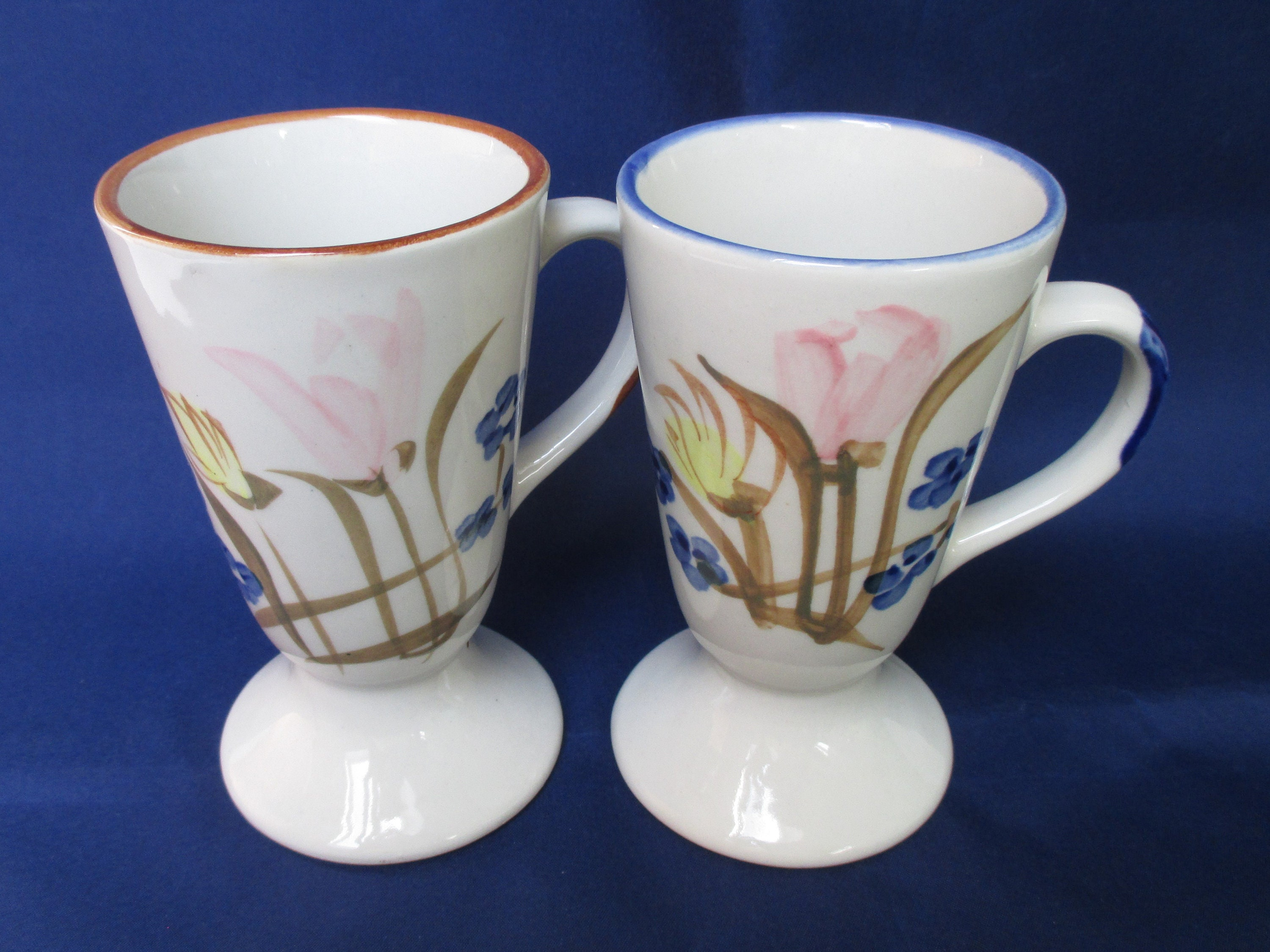 Vintage Tea Brown Lover Gift Footed Set Cups 20 Blue Couples Coffee Kitchen Ceramic His Her Under Mug Irish Mugs Mom QdCtshxrB