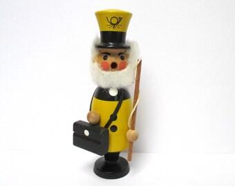 Mailman Smoker Figurine German Postman Incense Burner Yellow Black Carved Wood Erzgebirge Figure Germany Incense Smoker Gifts Under 30 Dad