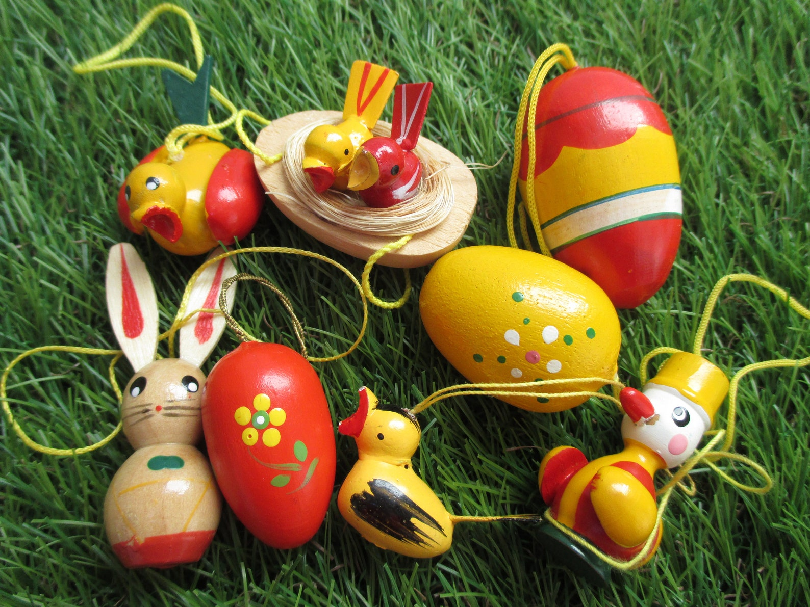 Bird Nest Easter Ornaments Easter Eggs Bunnies 11 Spring Decor Easter Eggs Set