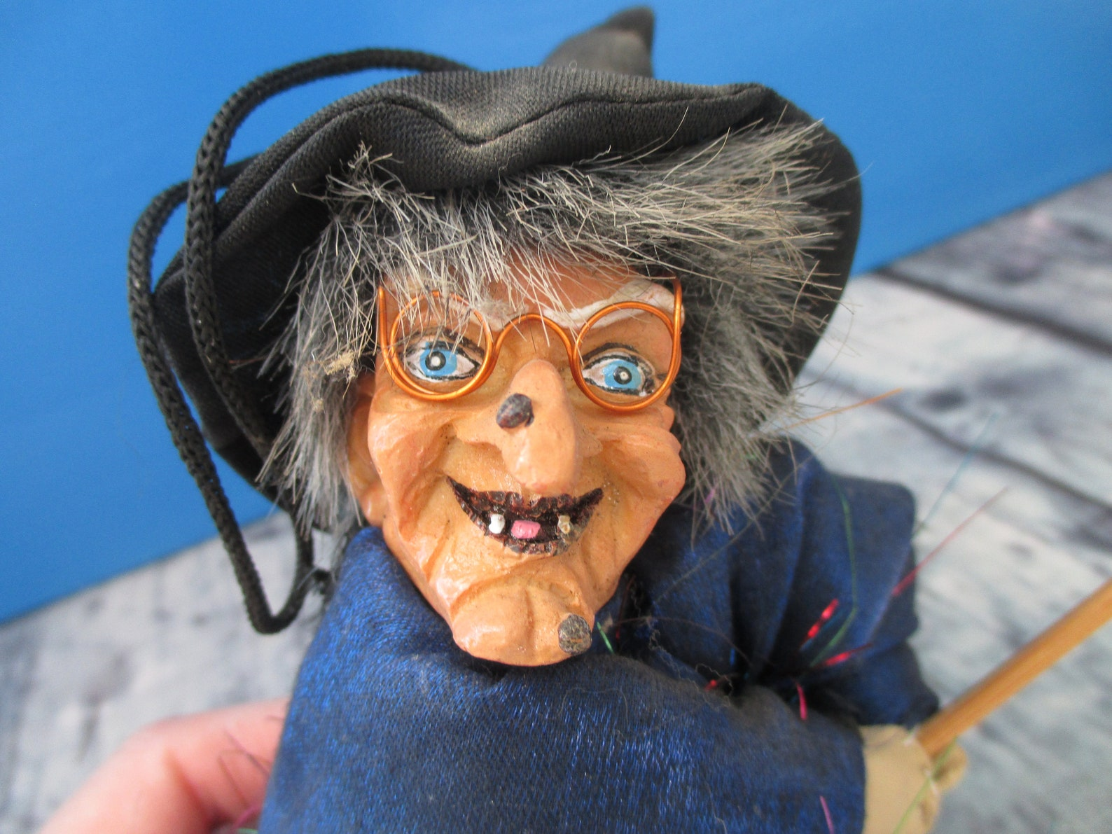 Witch Scary Evil West Germany Hat & Broomstick