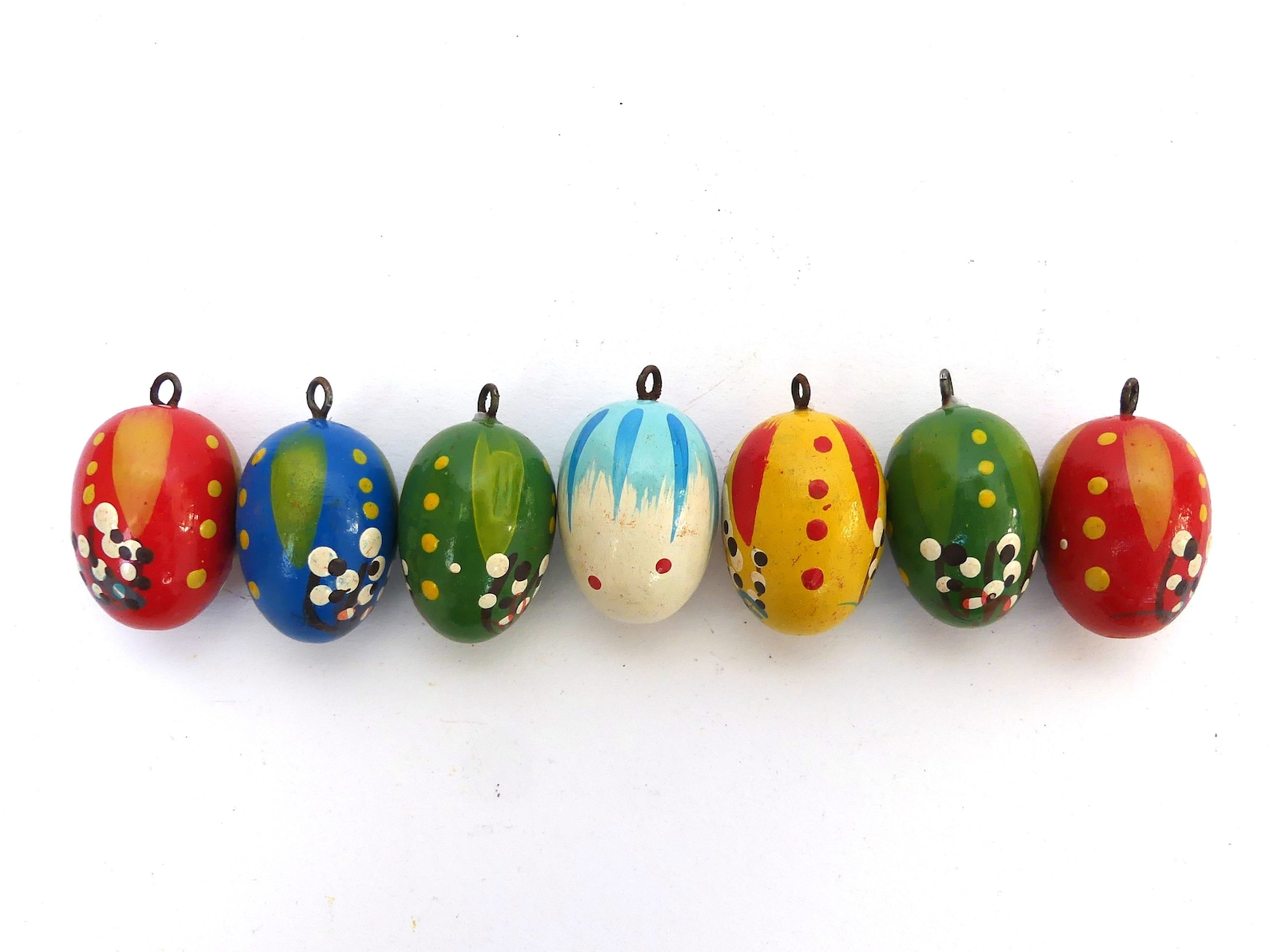 Wood Easter Eggs Ornaments Wooden Erzgebirge Miniatures Wood Easter Ornaments Rustic Spring Decor Germany Blue Red Green Green