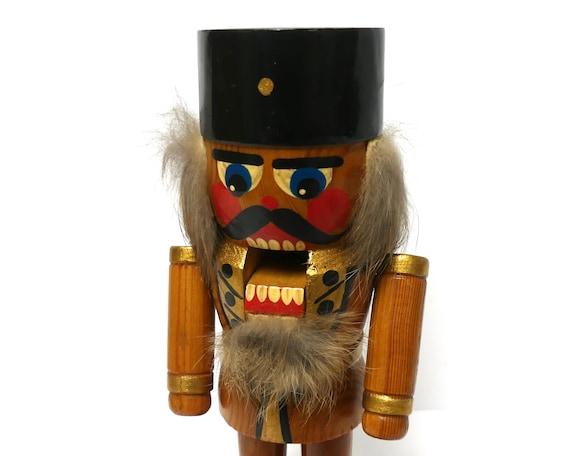 Vintage Wood Nutcracker 7 8 Germany Wooden Soldier Figure Gold Black Carved Wood Man Collectible Erzgebirge Boho Home