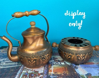 Vintage Copper Tea Kettle - DISPLAY ONLY - with Pot Warmer Copper Teapot Rustic Country Kitchen Decor Coffee Corner Art