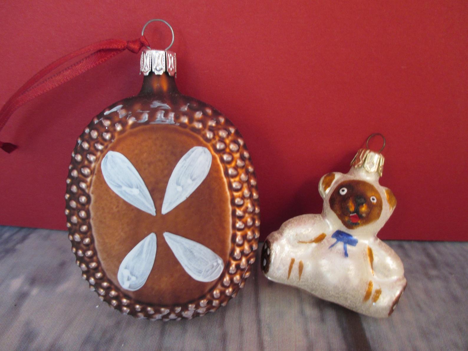 Lebkuchen Ornament & Teddy Bear Gingerbread Cookie German Glass Ornament Set