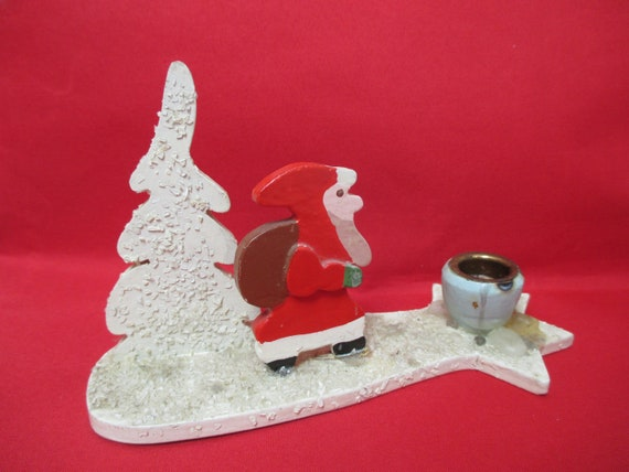 Santa Claus Candle Holder Sparkles Vintage Erzgebirge Germany Small Candleholder White Winter Rustic Wood