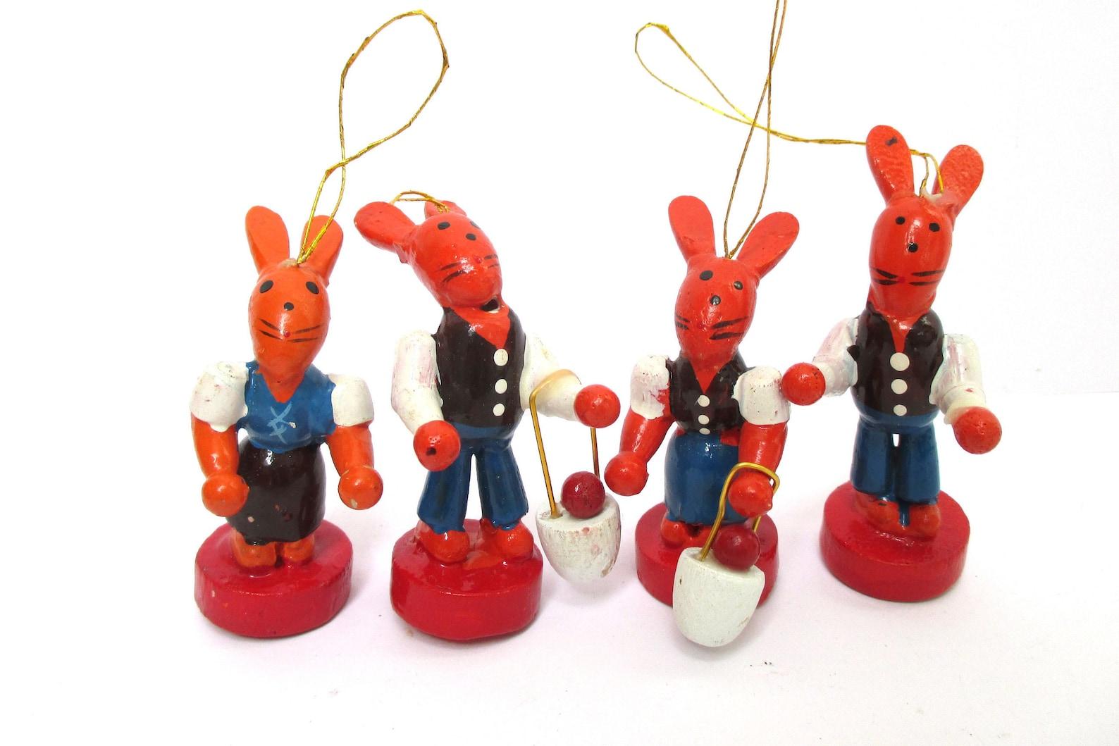 Wood Easter Bunny Ornaments Four Erzgebirge Bunnies Spring Decor German Wood Ornaments Set Rabbits Handmade Wood Red Blue Rabbits