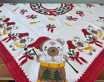 """Vintage Teddy Bear Christmas Tablecloth 30"""" Printed Cotton Linen Germany Square Red Green Musical Instruments Drums Holiday Home Decor"""