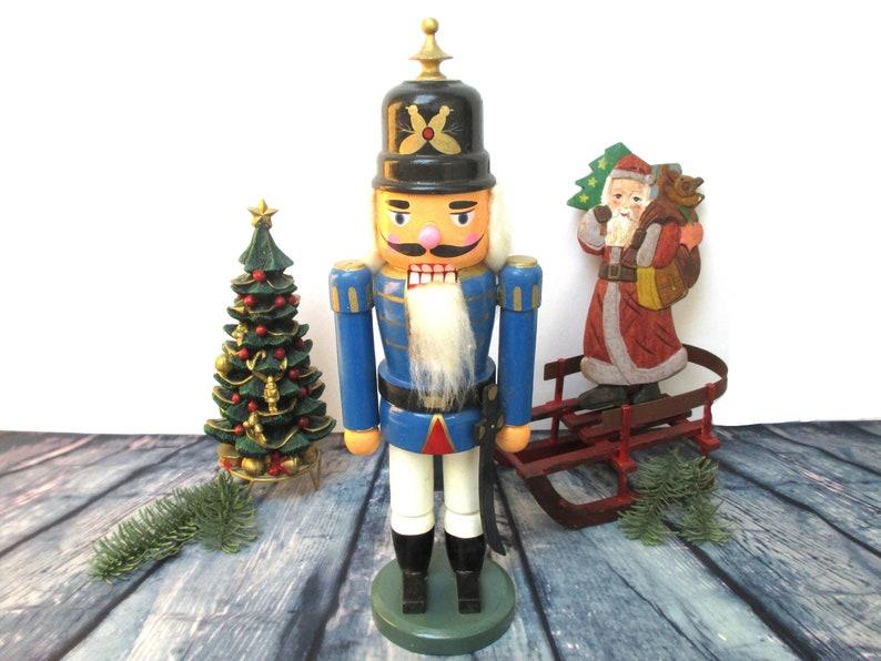 Blue Nutcracker 14 German Wooden Soldier Christmas Home Decor Erzgebirge Ornaments Gift Ideas Blue Black Green Wood Xmas Decorations