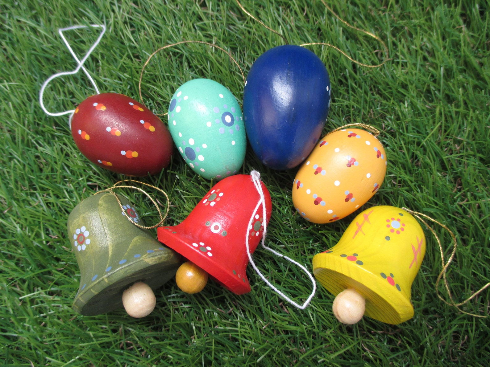 Easter Bells Ornaments Vintage German Folk Art Easter Eggs Painted Wood Handmade Hanging Ornaments like Erzgeibirge