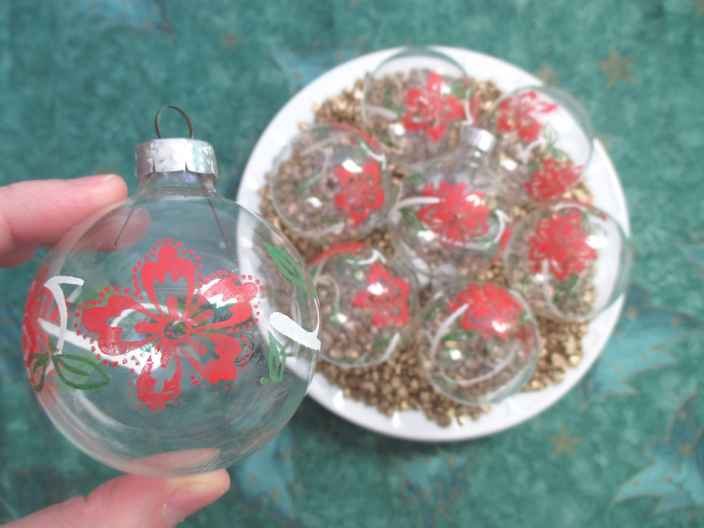 German Glass Christmas Ornaments With Flowers Red Green 8 Set Clear Vintage Germany Glass Balls Hanging Ornaments Mouth Blown Xmas Tree