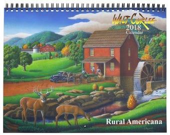 2018 Wall Calendar, Rural Americana Calendar, 2018 Farm Calendar, Folk Art Calendar, Rustic Calendar, Farm Art, Country, Farming Calendar