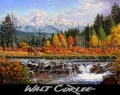 Original Oil Painting, Mountain Man Beaver Dam Western Oil Painting, Western Decor Mountain Landscape, Americana Decor, Trapper, Walt Curlee
