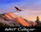 Original Oil Painting, Bald Eagle Painting, Mountain Landscape Painting, Antique, Bird, Western Decor, Americana Decor, Arizona WALT CURLEE