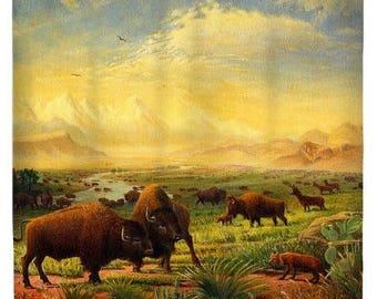 Buffalo on the Great Plains Landscape Shower Curtain,  Americana Bison Art, Western Bathroom Decor