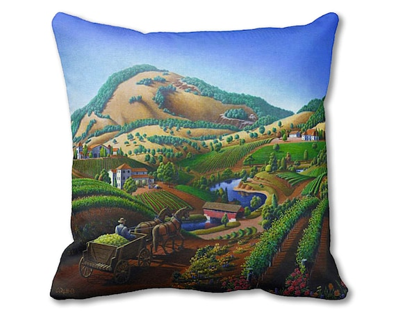 Wine Vineyard Throw Pillow Tuscan Winery Pillow Cover Etsy