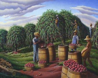 Farmers Picking Apples Appalachian Landscape Plush Fleece Blanket, Sherpa Fleece Blanket, Farm Art Throw Blanket, Harvest Folk Art Americana