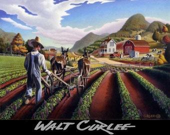 Farm Art Print, Cultivating Peas Country Art Print, Appalachian Decor, Ozark, Rural Life, Americana Folk Art, Heartland Farm Landscape Decor