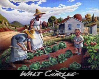 Garden Art Print, Farm Art Print, Amish Decor, folk art Print, Appalachian Art,  Family Gardening Art, Rustic home decor