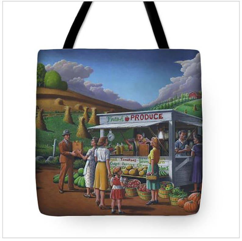 Farm Book Bag Appalachian Country life Farm Life Food Produce Stand Tote Bag Americana Book Bag Folk Art great gift for her Grandma